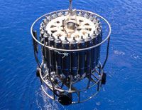 CTD device being lowered into the sea