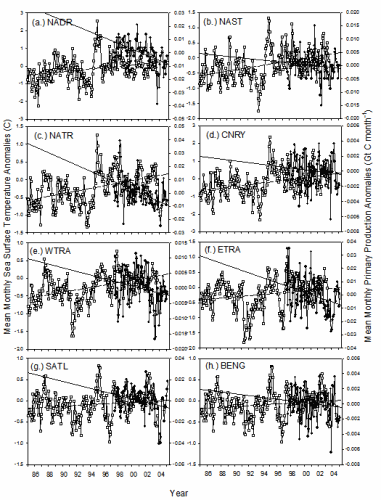 This figure shows the mean monthly anomaly in primary production  using SeaWiFS data from 1998 to 2005 and in AVHRR sea surface temperature from 1985 to 2005 in nine Atlantic provinces. PP anomaly (closed circles) and linear regression (solid line), SST anomaly (open squares) and linear regression (dashed line). North Atlantic Drift -NADR (a.), North Atlantic Subtropical Gyre Province -NAST (b.), North Atlantic Tropical Gyre –NATR (c.), Canary Current Coastal upwelling –CNRY (d.), Western Tropical Atlantic -WTRA (e.), Eastern Tropical Atlantic –ETRA (f.), South Atlantic Subtropical Gyre –SATL (g.) and Benguela Current Coastal -BENG (h.). From Tilstone et al. (2009) Deep Sea-Research II, doi:10.1016/j.dsr2.2008.10.034.