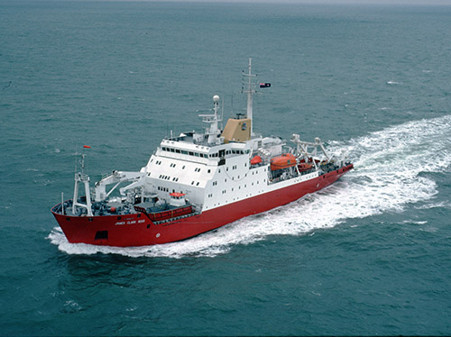 RRS James Clark Ross at sea from above